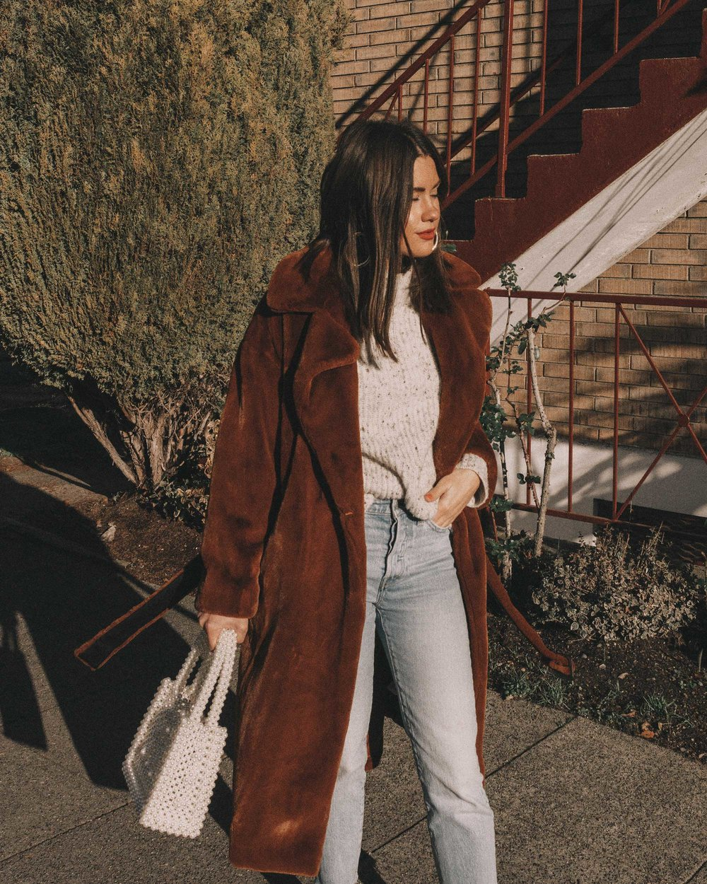 Topshop Bella Velvet Brown Faux Fur Coat winter outfit levis wedgie jeans seattle5.jpg