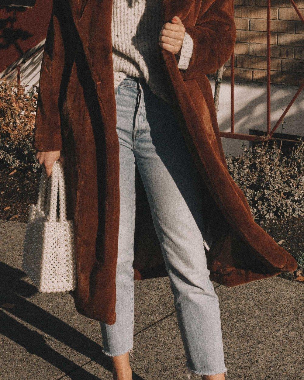 Topshop Bella Velvet Brown Faux Fur Coat winter outfit levis wedgie jeans seattle4.jpg