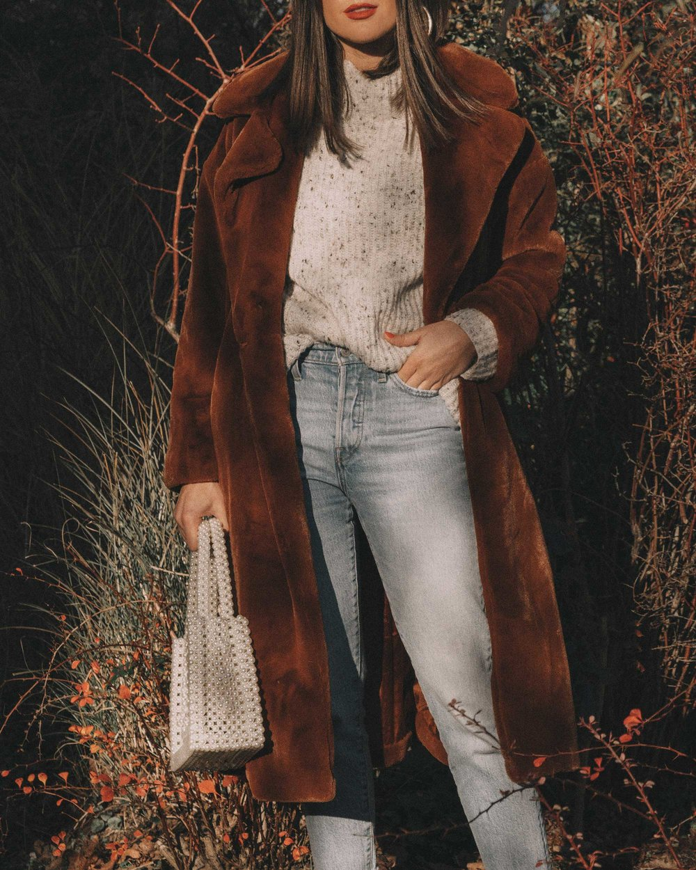Topshop Bella Velvet Brown Faux Fur Coat winter outfit levis wedgie jeans seattle1.jpg
