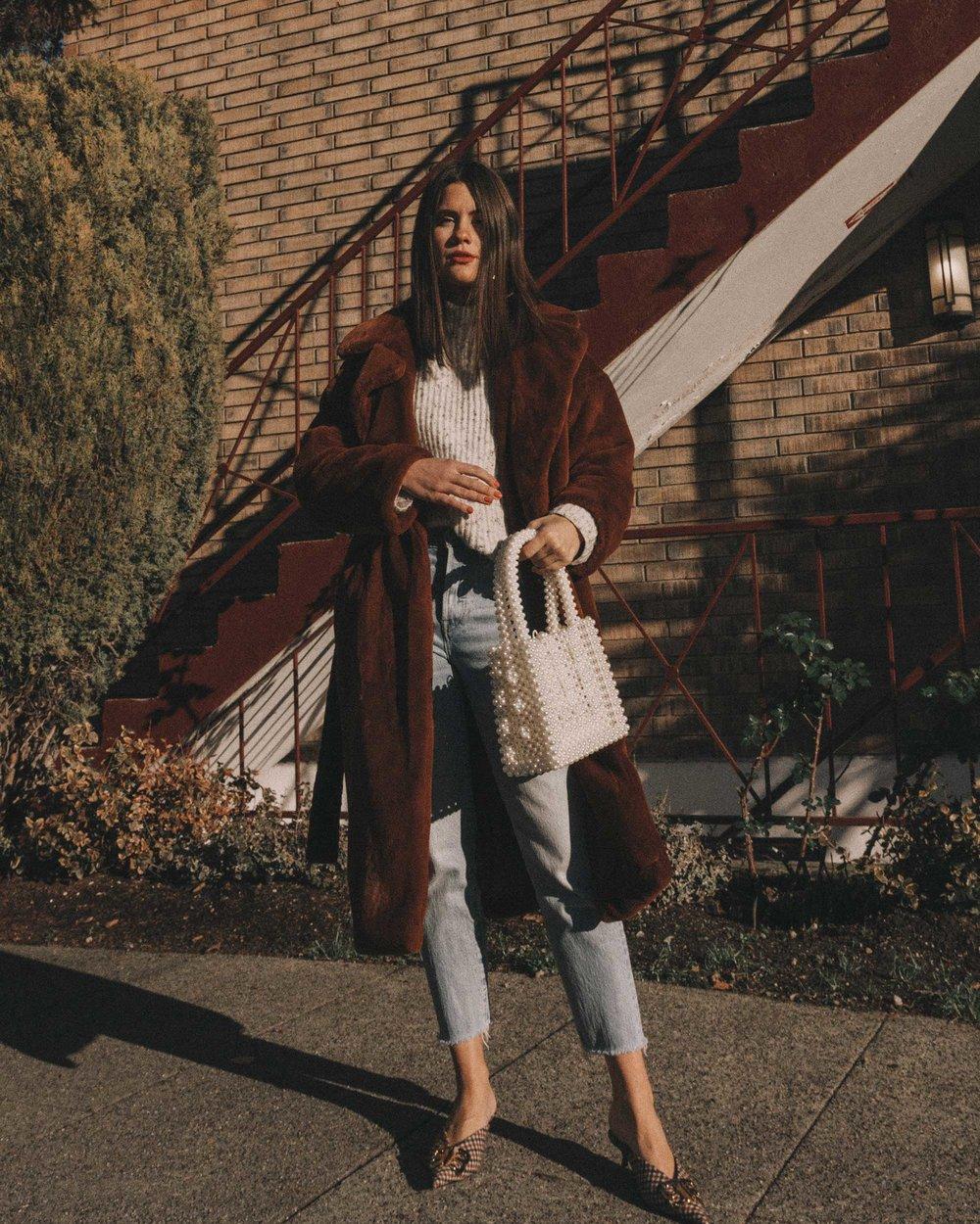 Topshop Bella Velvet Brown Faux Fur Coat winter outfit levis wedgie jeans seattle7.jpg