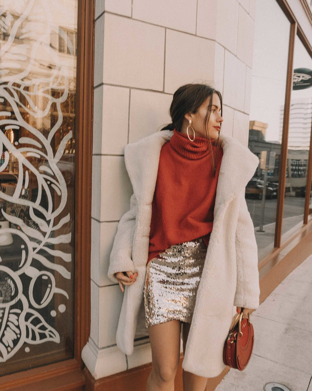 Red turtleneck sweater with an oversized collar and sequin skirt cute holiday outfit4.jpg
