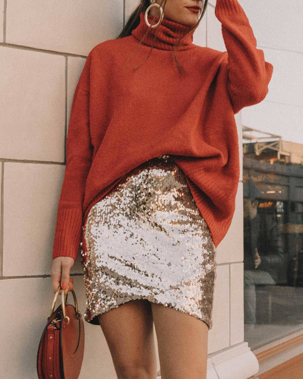 Red turtleneck sweater with an oversized collar and sequin skirt cute holiday outfit12.jpg