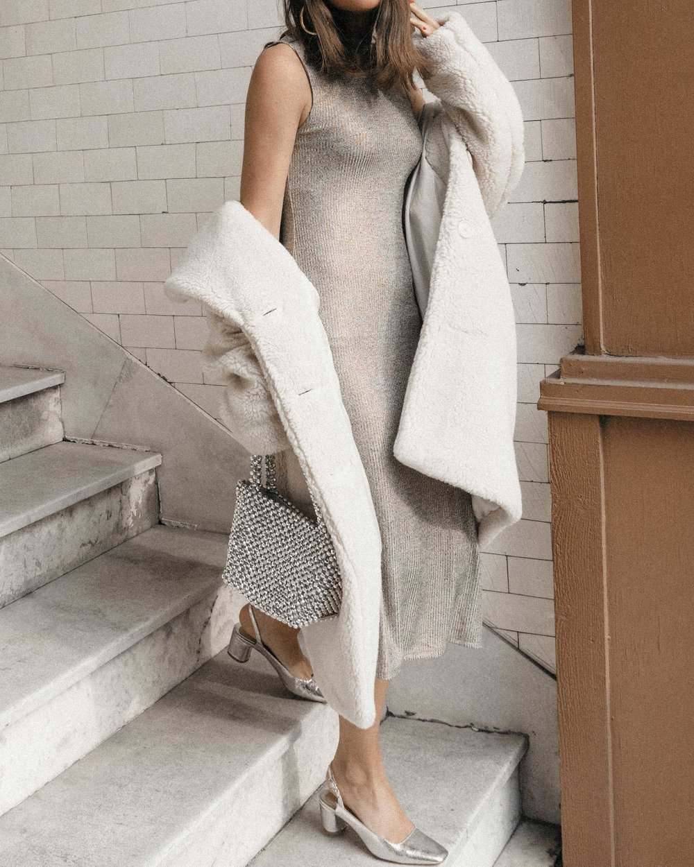 Bcbgeneration Metallic Ribbed Sheath Dress and Faux Shearling Coat holiday outfit14.jpg