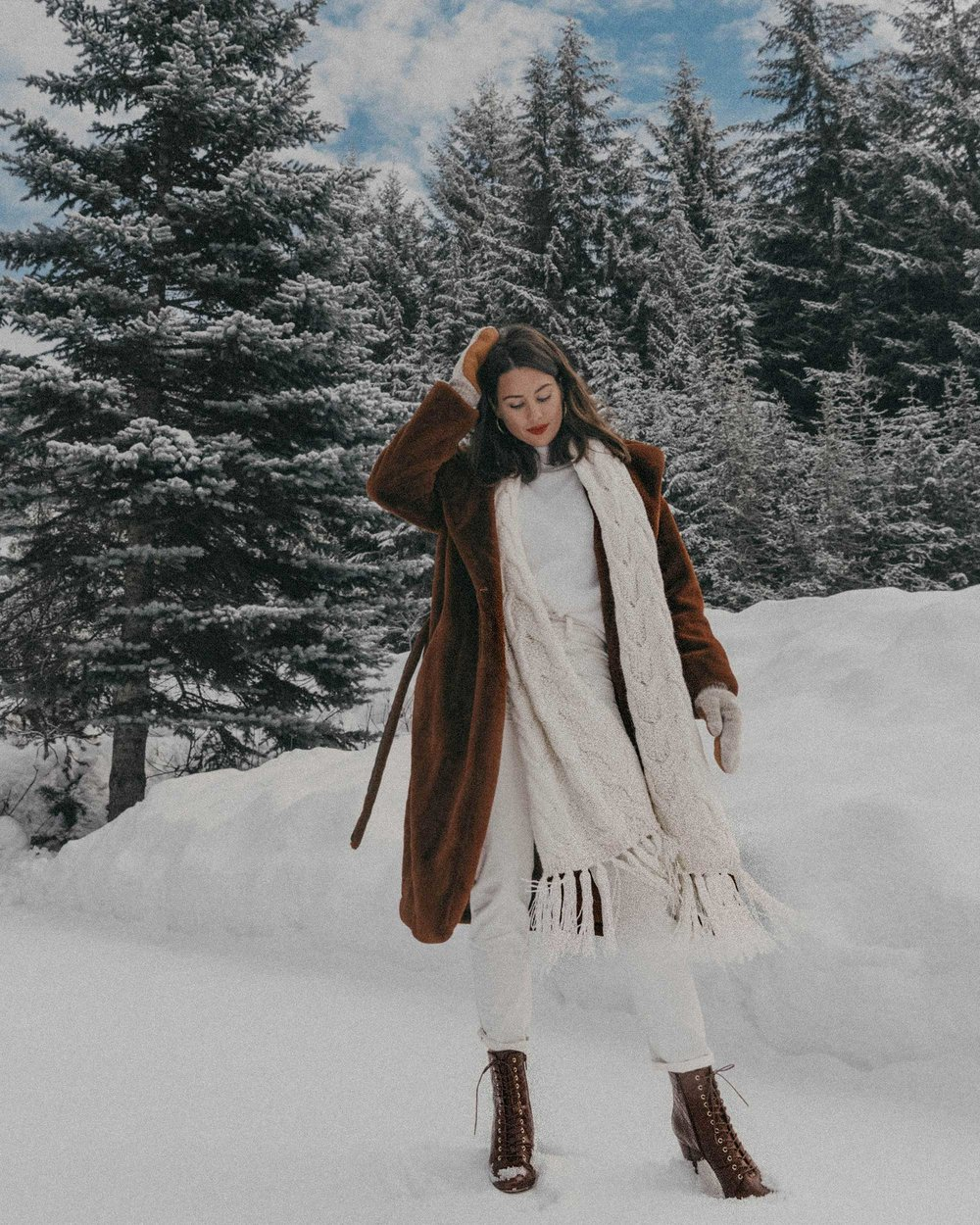 Whistler snow travel outfit brown faux fur coat-2.jpg