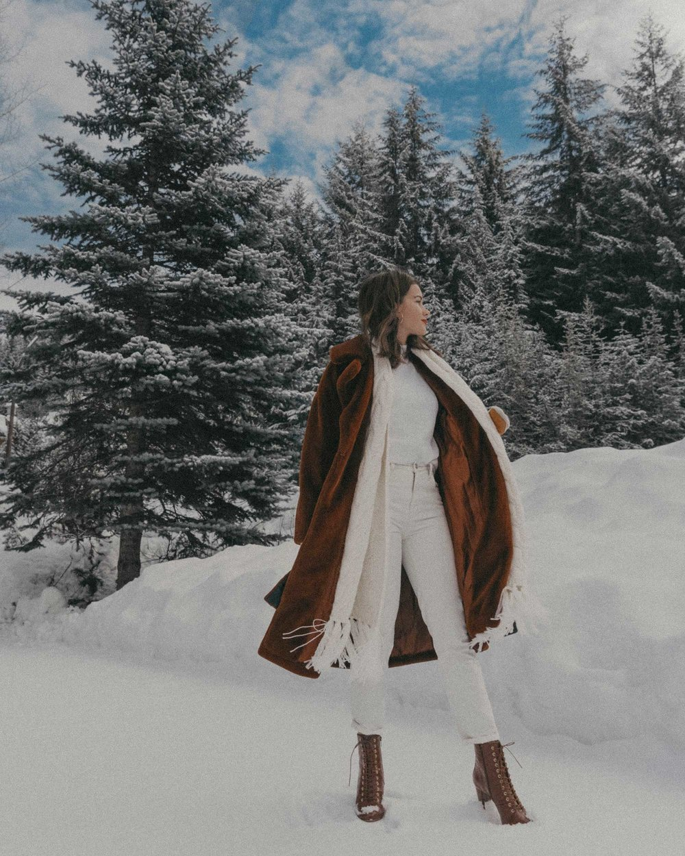 Whistler snow travel outfit brown faux fur coat.jpg