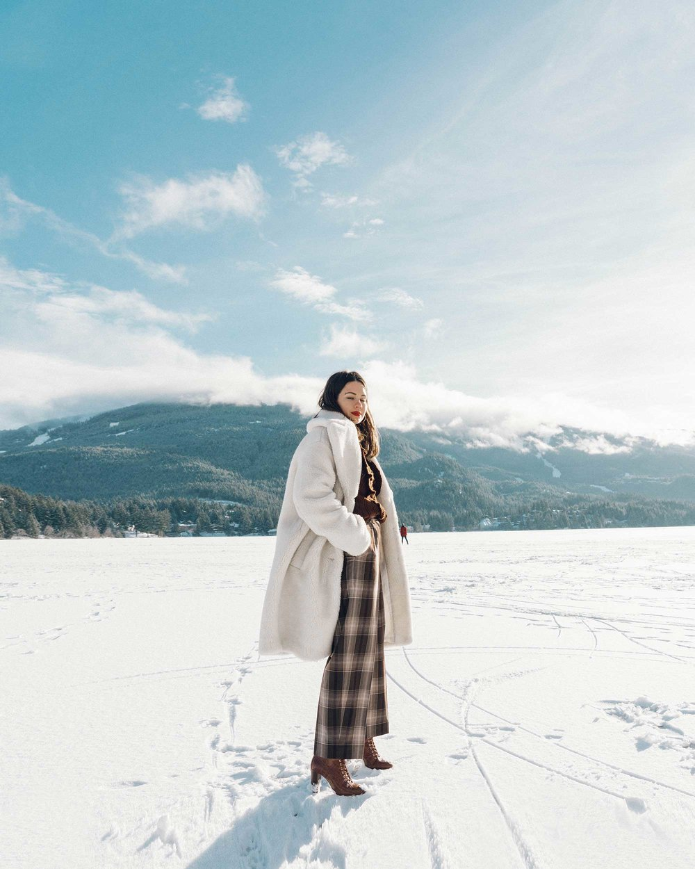 & Other Stories Tailored Brown Plaid Pants with pleats, white Faux Shearling Coat,  winter snow outfit, whistler canada4.jpg