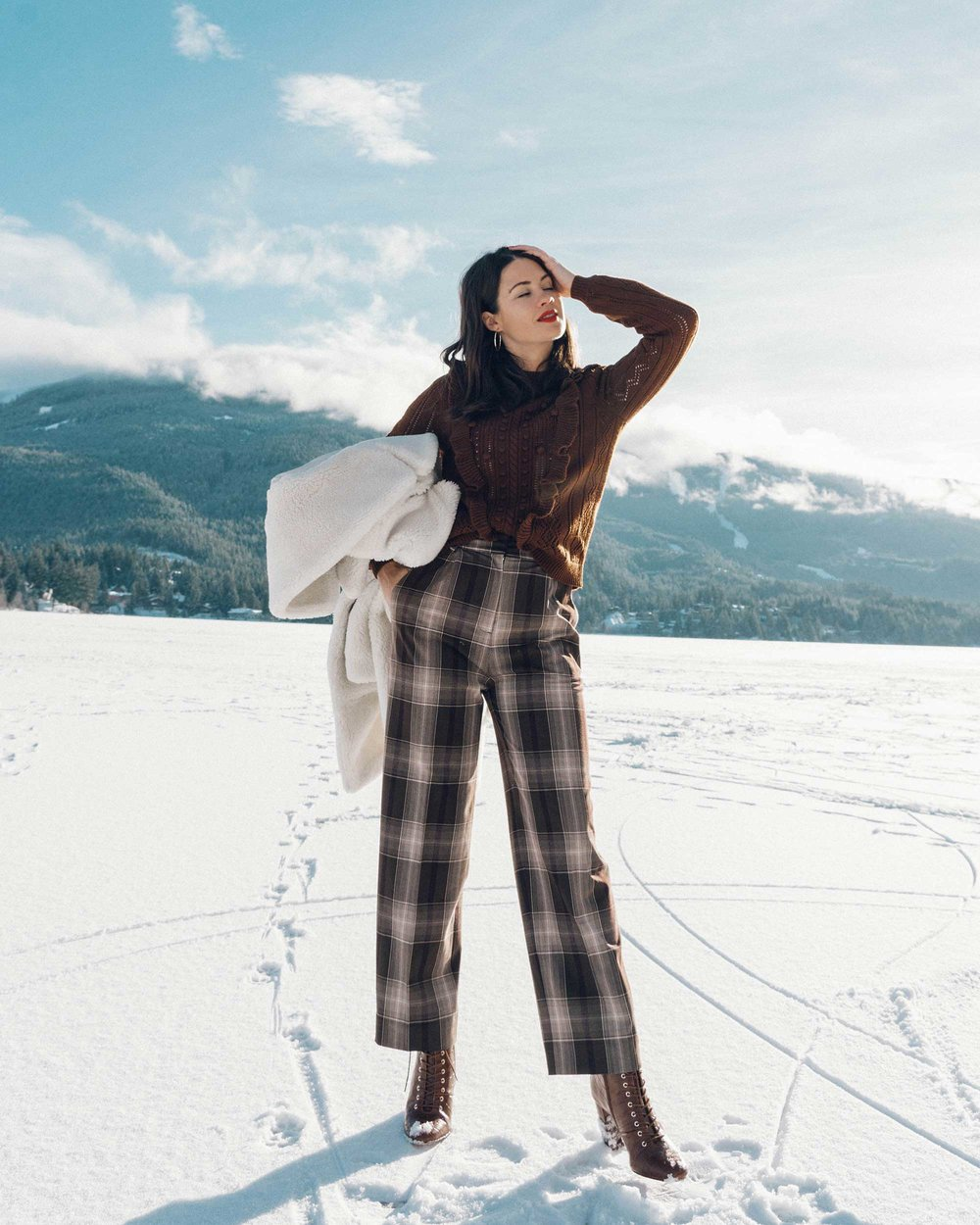 & Other Stories Tailored Brown Plaid Pants with pleats, white Faux Shearling Coat,  winter snow outfit, whistler canada11.jpg