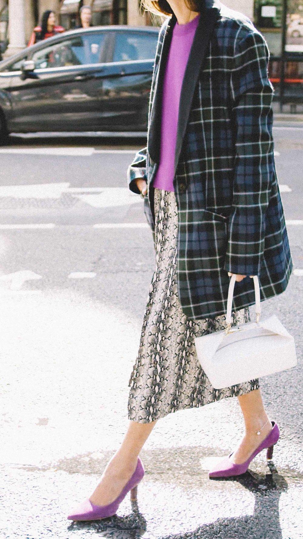 11 ways to wear snake print, snake print skirt with plaid blazer street style.jpg