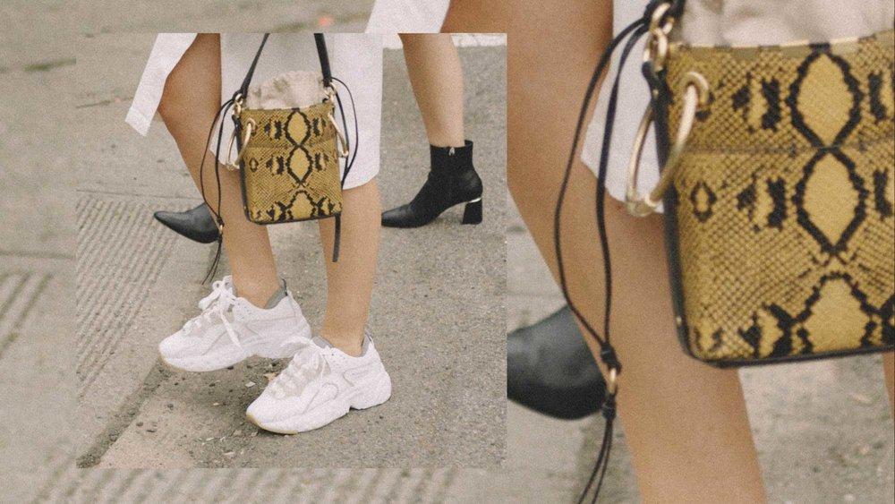 11 ways to wear snake print, CHLOE Roy small snake leather bucket bag street style 1.jpg