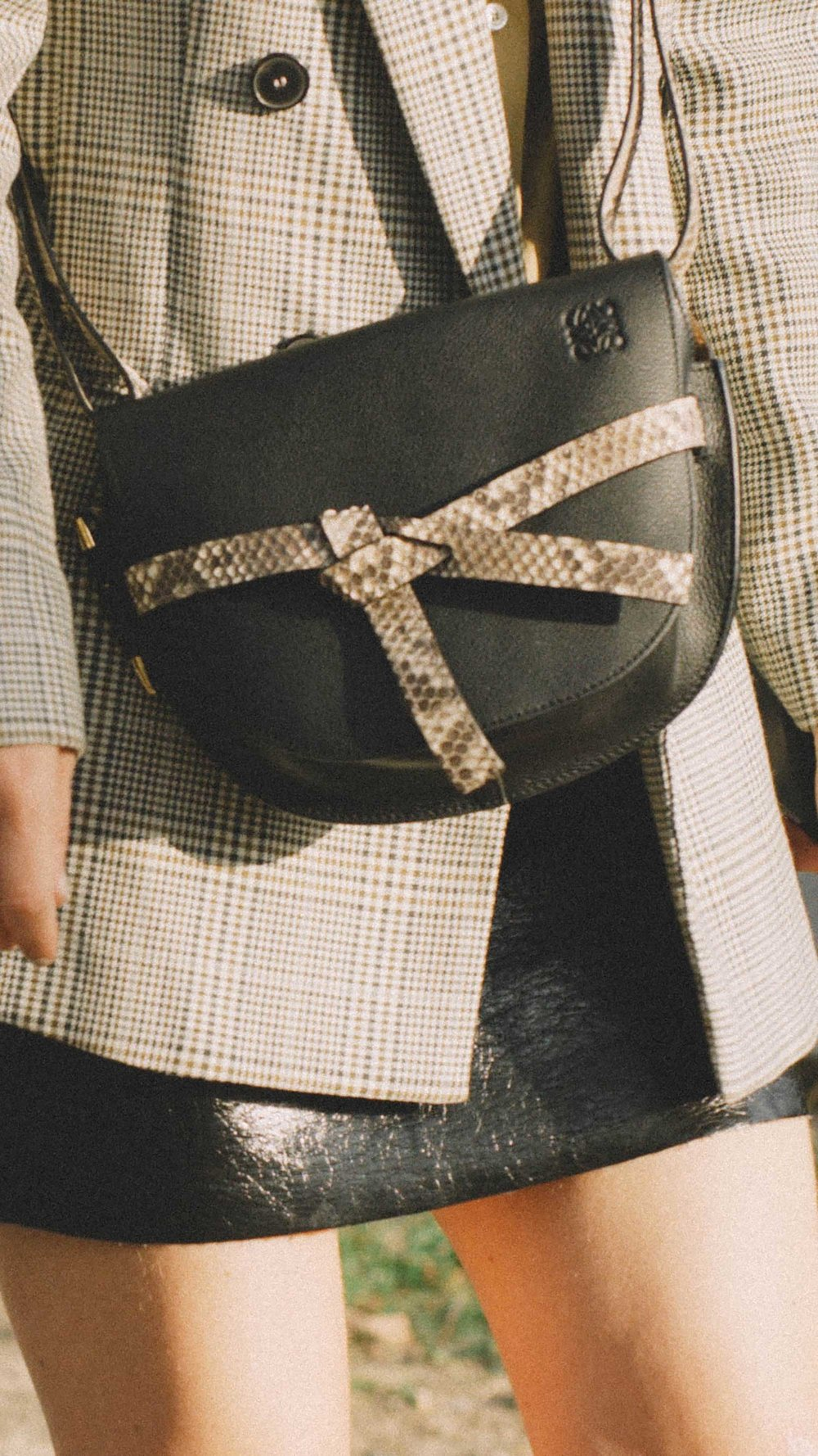 11 ways to wear snake print, Loewe Gate small textured-leather shoulder bag.jpg