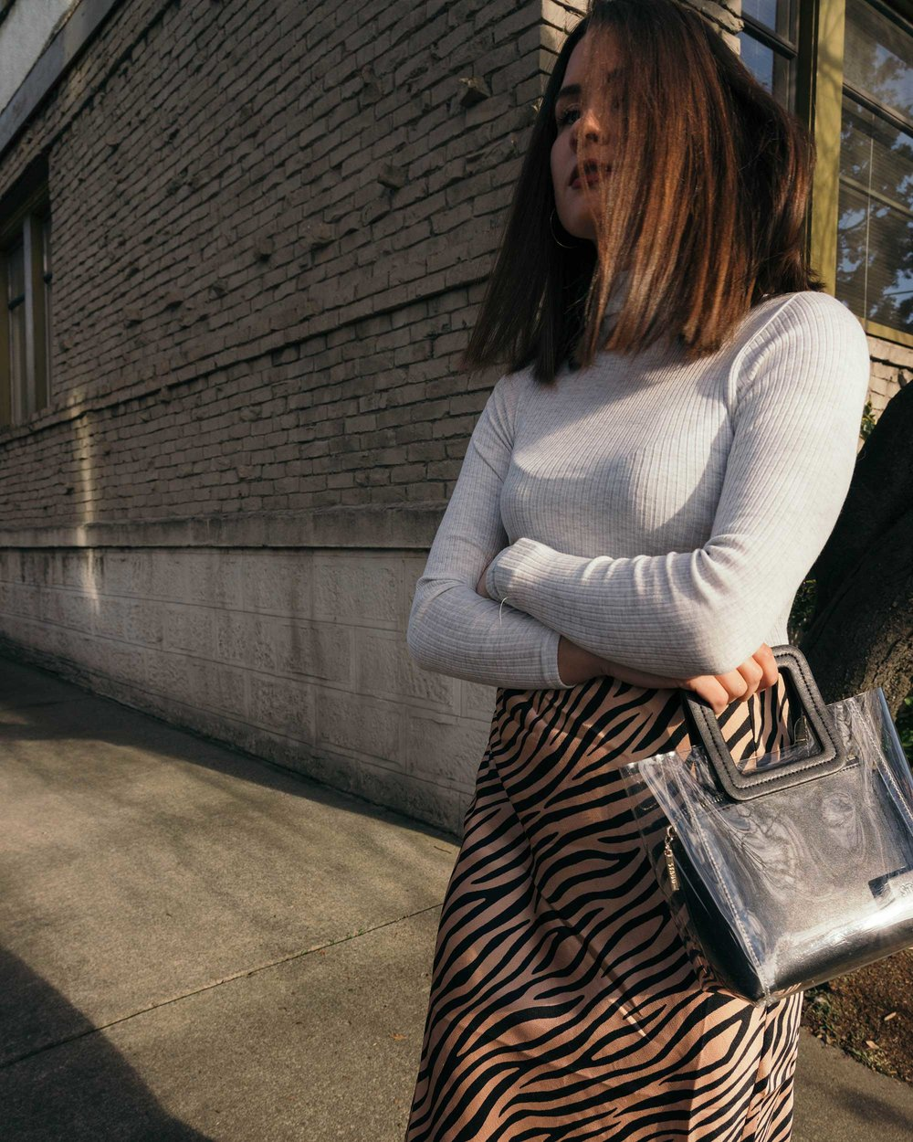 Sarah Butler of Sarah Styles Seattle wears Club Monaco Julie Rib Turtleneck Sweater, Tiger Print Midi Skirt, and Staud Mini Shirley Transparent Handbag | @sarahchristine3.jpg
