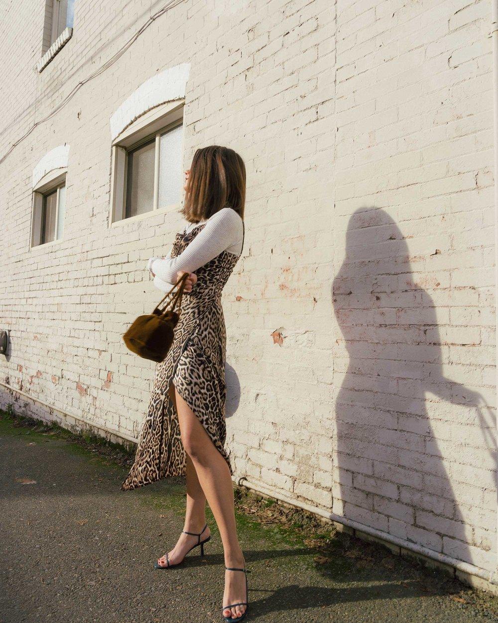 Sarah Butler of Sarah Styles Seattle wears Charmeuse Midi Leopard Print Dress, THE ROW Nude Asymmetric Leather Sandals, and Madewell Mini Velvet Crossbody handbag | @sarahchristine8.jpg