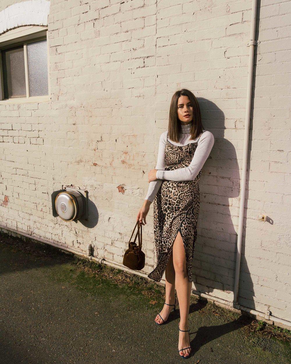 Sarah Butler of Sarah Styles Seattle wears Charmeuse Midi Leopard Print Dress, THE ROW Nude Asymmetric Leather Sandals, and Madewell Mini Velvet Crossbody handbag | @sarahchristine3.jpg