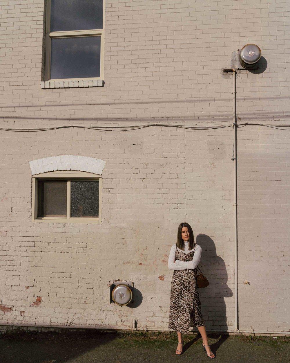 Sarah Butler of Sarah Styles Seattle wears Charmeuse Midi Leopard Print Dress, THE ROW Nude Asymmetric Leather Sandals, and Madewell Mini Velvet Crossbody handbag | @sarahchristine4.jpg