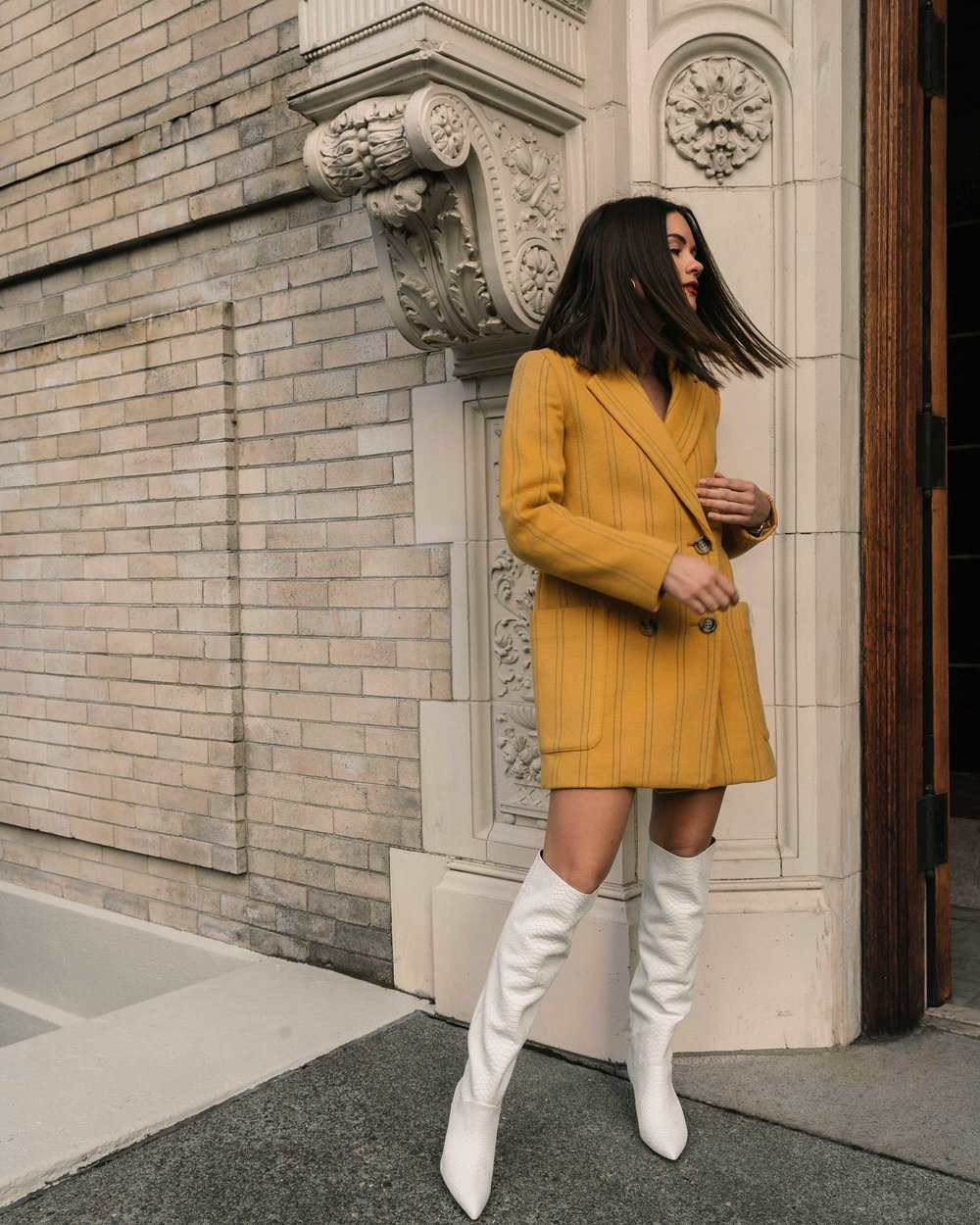 Sarah Butler of Sarah Styles Seattle wears Joie Revet White Snake Print Tall Boots and Madewell Double-Breasted Yellow Coat | @sarahchristine5.jpg