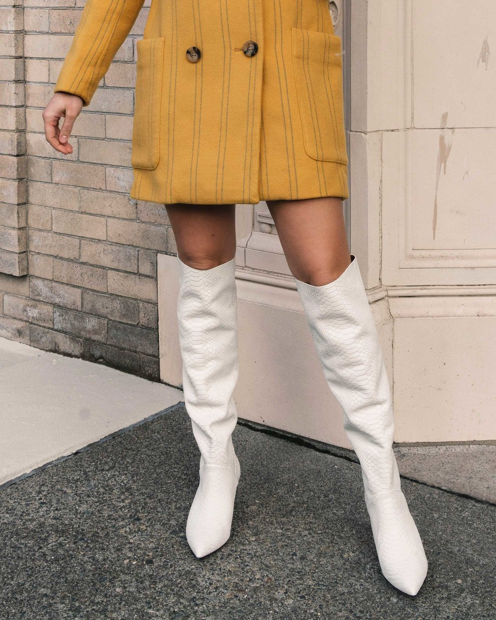 Sarah Butler of Sarah Styles Seattle wears Joie Revet White Snake Print Tall Boots and Madewell Double-Breasted Yellow Coat | @sarahchristine1.jpg