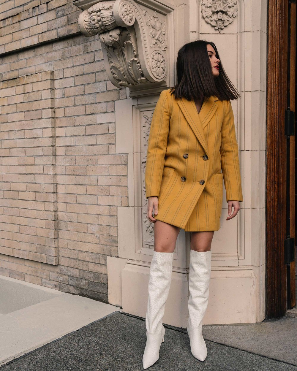 Sarah Butler of Sarah Styles Seattle wears Joie Revet White Snake Print Tall Boots and Madewell Double-Breasted Yellow Coat | @sarahchristine4.jpg