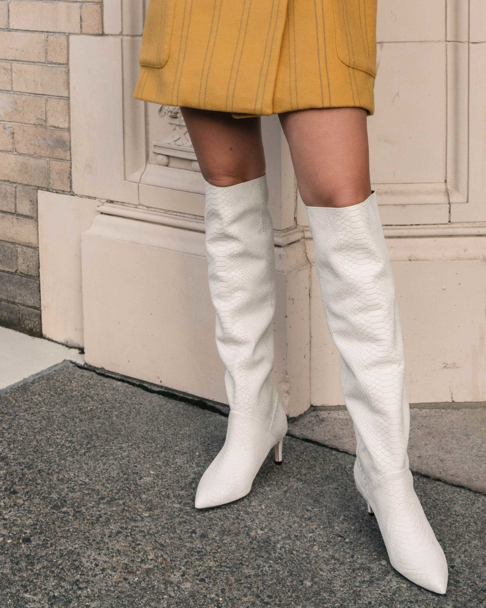 Sarah Butler of Sarah Styles Seattle wears Joie Revet White Snake Print Tall Boots and Madewell Double-Breasted Yellow Coat | @sarahchristine6.jpg