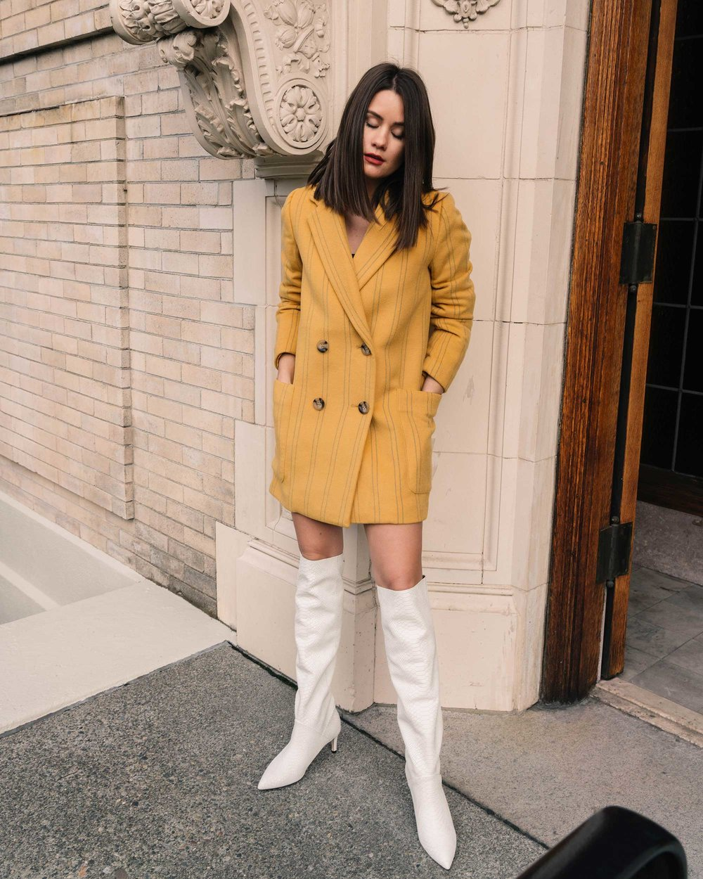 Sarah Butler of Sarah Styles Seattle wears Joie Revet White Snake Print Tall Boots and Madewell Double-Breasted Yellow Coat | @sarahchristine7.jpg