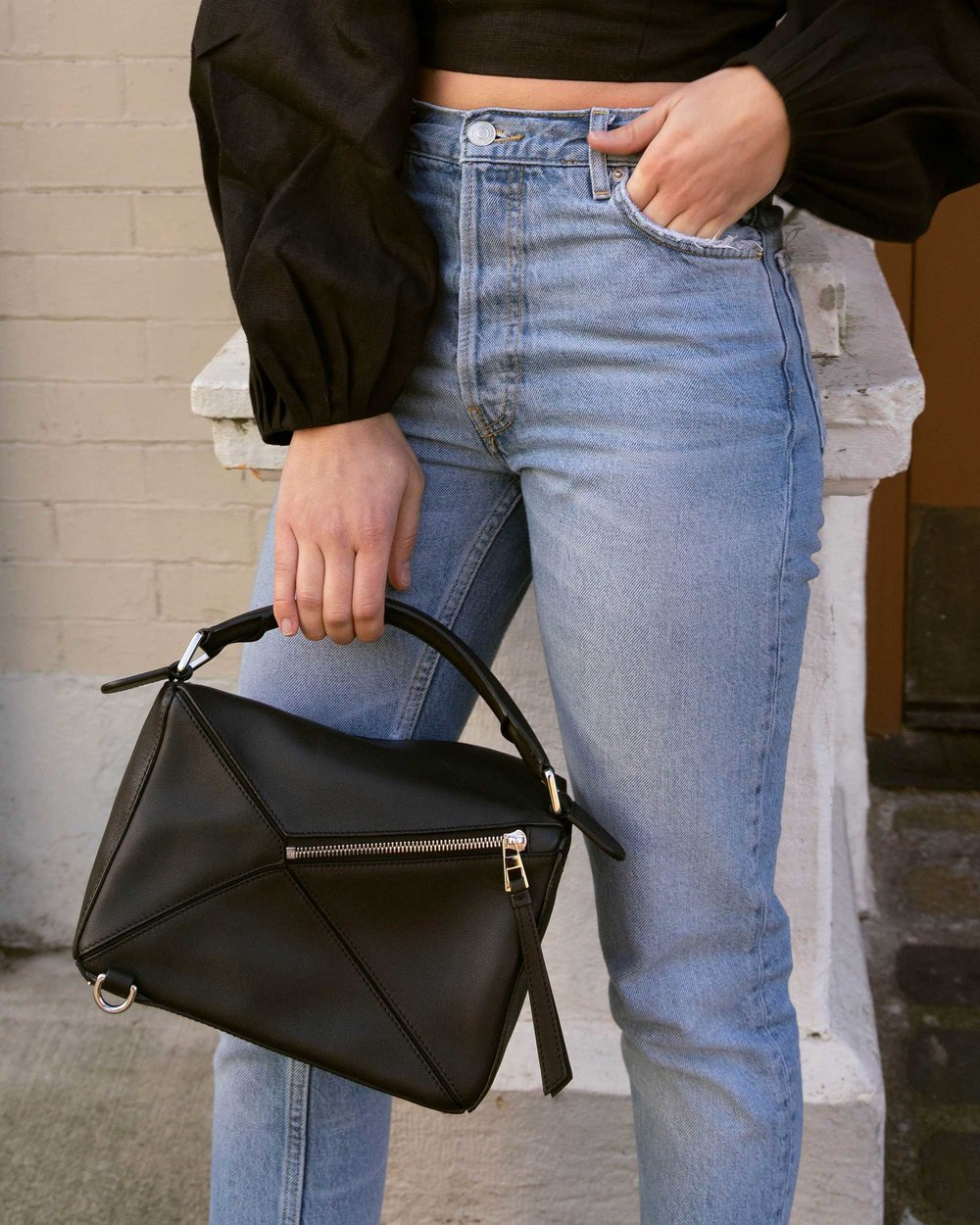 Sarah Butler of Sarah Styles Seattle wears Mara Hoffman Moon Crop Top with Gathered puff sleeves in black and Loewe Small Puzzle Shoulder Bag  | @sarahchristine, Seattle Blogger12.jpg