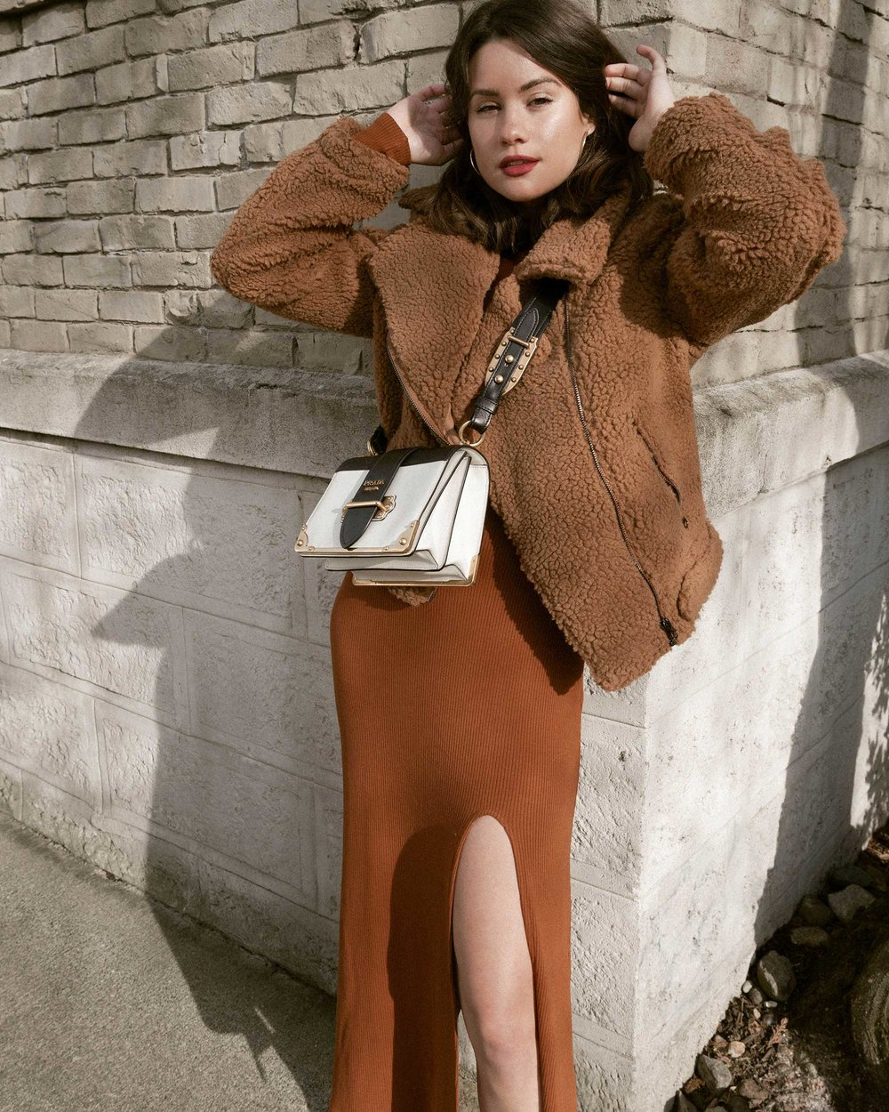 Sarah Butler of Sarah Styles Seattle wears ASTR the Label Faux Shearling Moto Jacket and Prada Saffiano Leather Cahier Bag for a causal winter outfit | @sarahchristine, Seattle Blogger19.jpg
