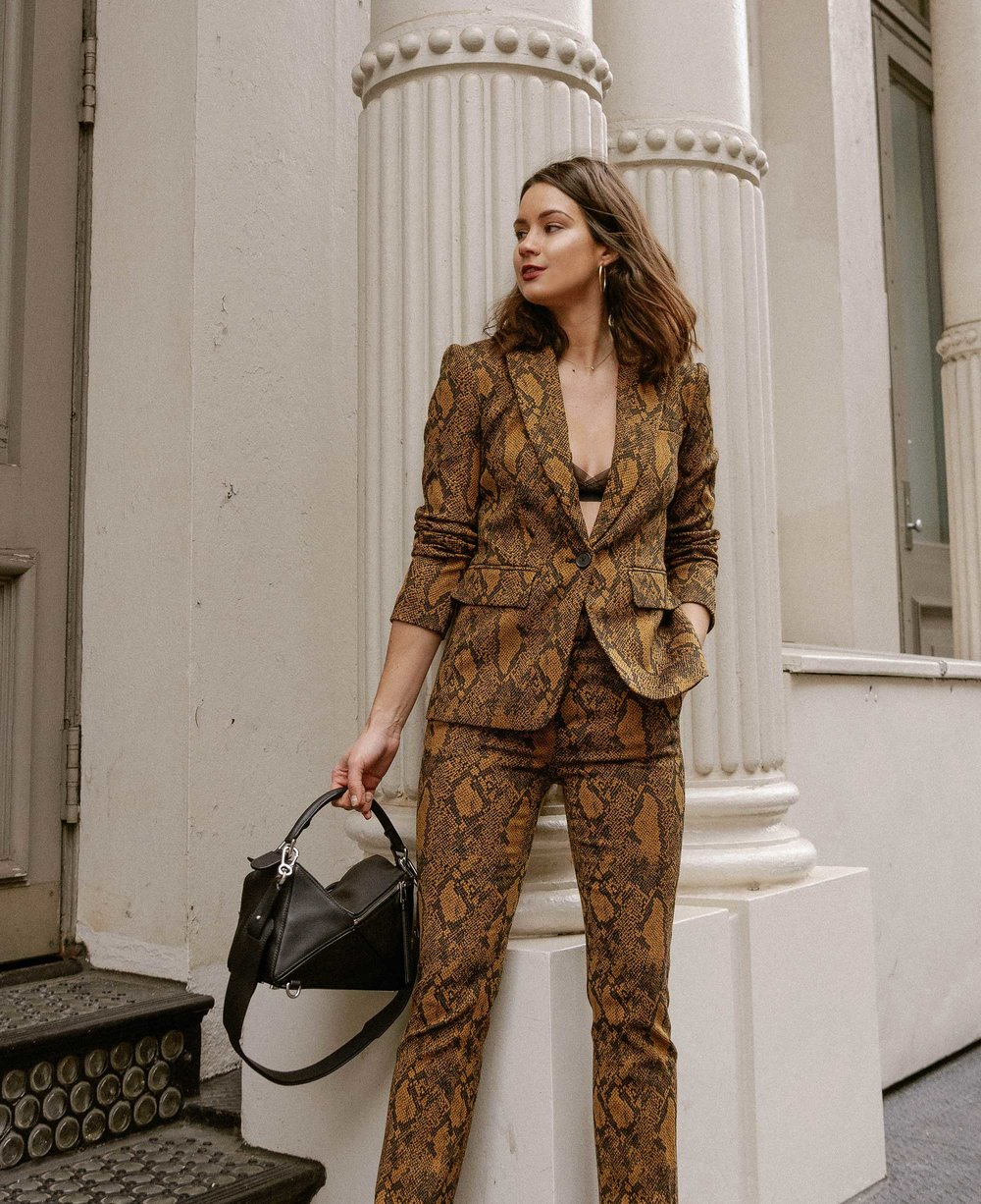 Sarah Butler of Sarah Styles Seattle wears Joie Anilah snakeskin print suit for New York Fashion Week  and Loewe Small Puzzle Shoulder Bag | @sarahchristine, Seattle Blogger8.jpg
