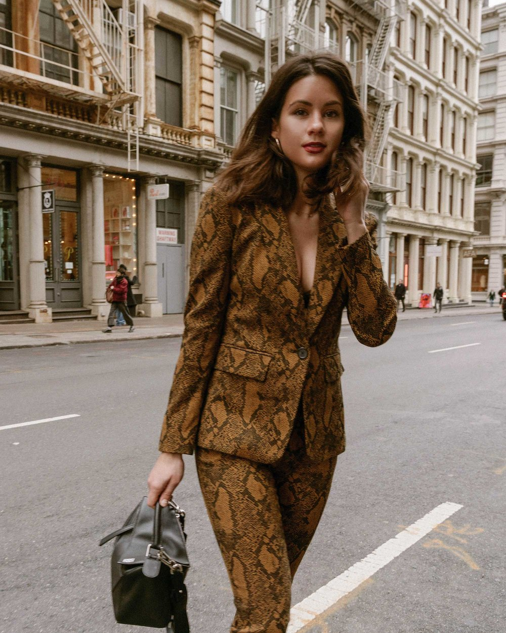 Sarah Butler of Sarah Styles Seattle wears Joie Anilah snakeskin print suit for New York Fashion Week  and Loewe Small Puzzle Shoulder Bag | @sarahchristine, Seattle Blogger6.jpg