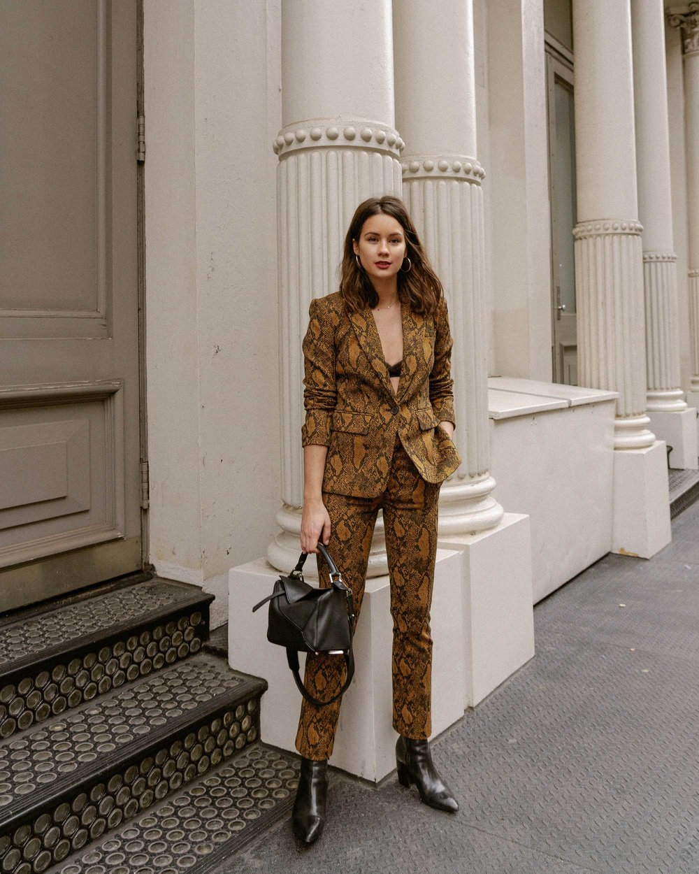 Sarah Butler of Sarah Styles Seattle wears Joie Anilah snakeskin print suit for New York Fashion Week  and Loewe Small Puzzle Shoulder Bag | @sarahchristine, Seattle Blogger7.jpg