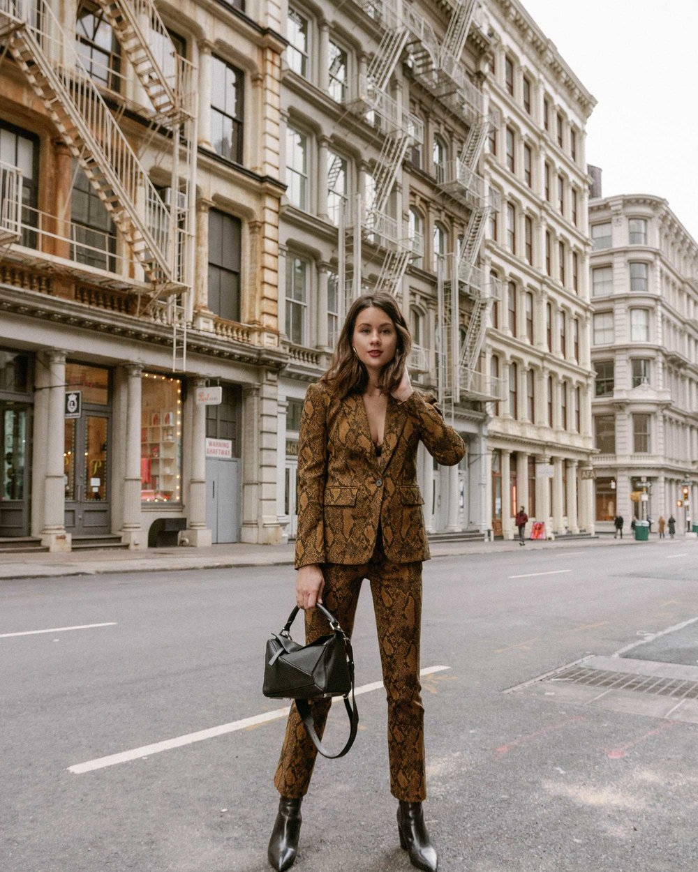 Sarah Butler of Sarah Styles Seattle wears Joie Anilah snakeskin print suit for New York Fashion Week  and Loewe Small Puzzle Shoulder Bag | @sarahchristine, Seattle Blogger3.jpg