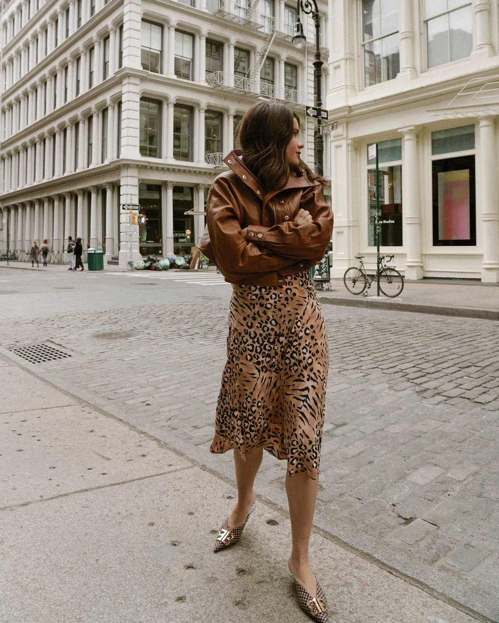 Sarah Butler of Sarah Styles Seattle wears PAIGE Cicely animal print slip dress and Revolve LPA oversized brown leather bomber jacket in Soho, New York | @sarahchristine, Seattle Blogger.jpg