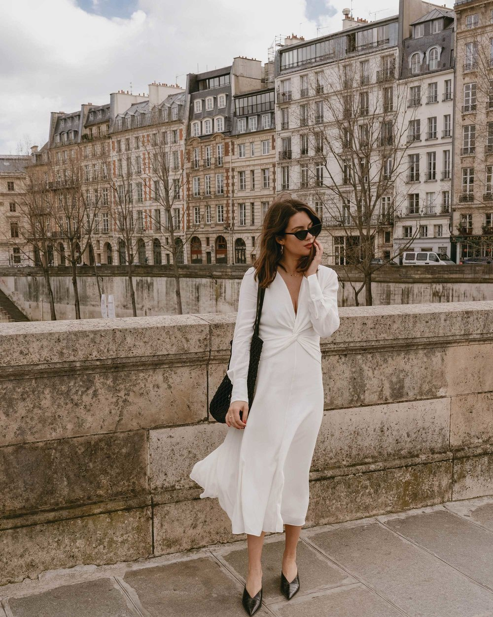 Sarah Butler of Sarah Styles Seattle wears Equipment Faun crepe midi dress with a flatteringly knotted front and plunging neckline in Paris, France | @sarahchristine, Seattle Blogger - 6.jpg