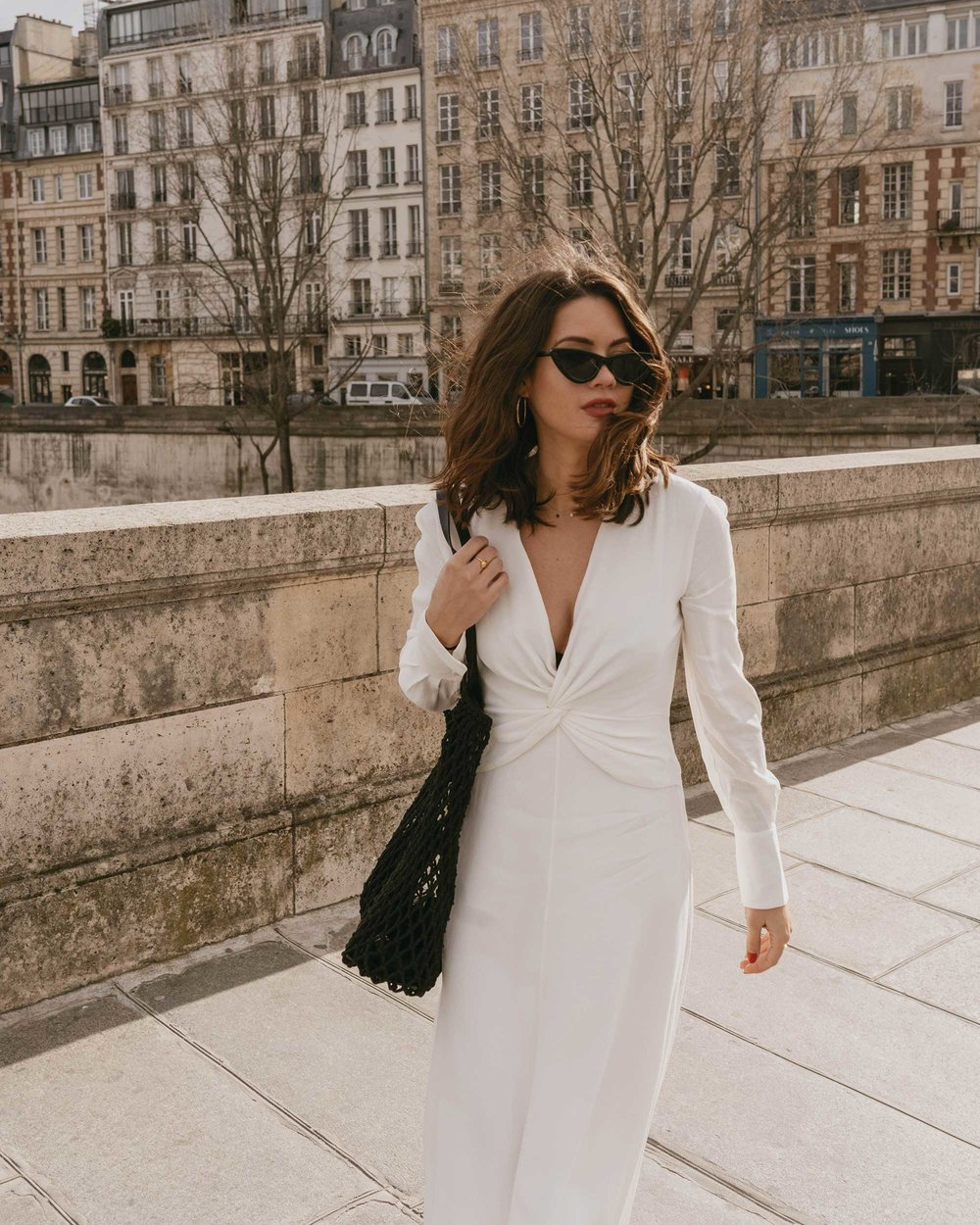 Sarah Butler of Sarah Styles Seattle wears Equipment Faun crepe midi dress with a flatteringly knotted front and plunging neckline in Paris, France | @sarahchristine, Seattle Blogger - 1.jpg