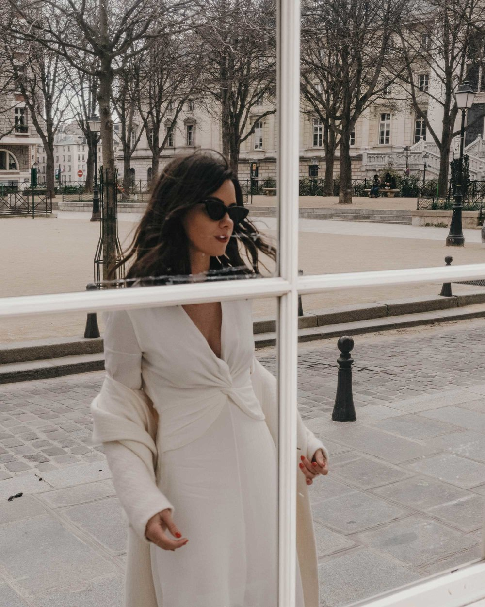 Reflections of Paris - Wearing Equipment Faun crepe midi dress with a flatteringly knotted front and plunging neckline in Paris, France.