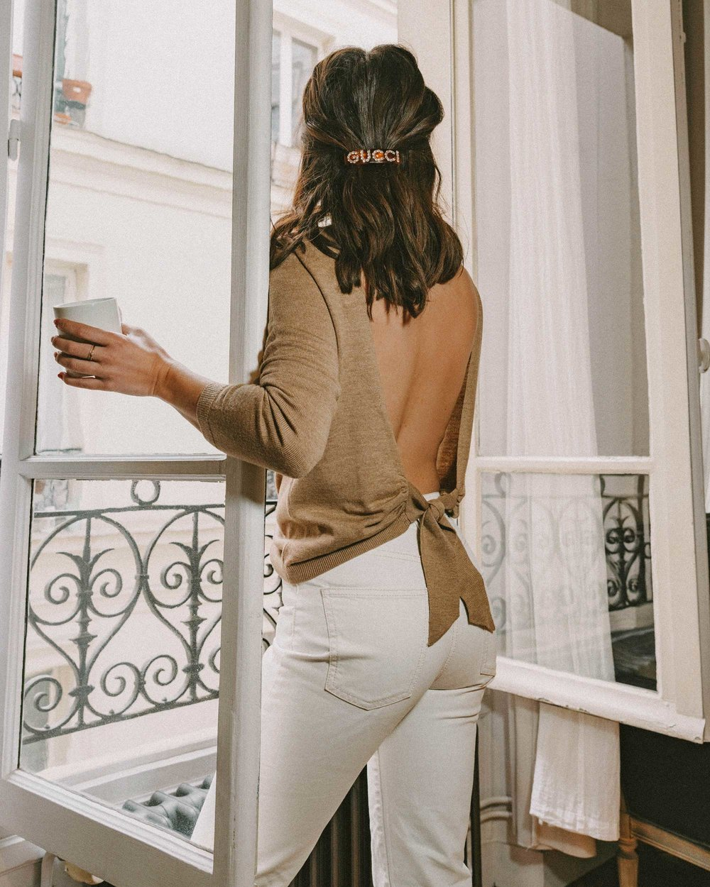 Sarah Butler of Sarah Styles Seattle wears Sezane Backless Sweater and Crystal Gucci single hair barrette in Paris, France | @sarahchristine, Seattle Blogger -2.jpg