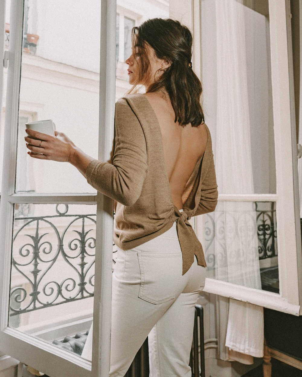 Sarah Butler of Sarah Styles Seattle wears Sezane Backless Sweater and Crystal Gucci single hair barrette in Paris, France | @sarahchristine, Seattle Blogger -4.jpg