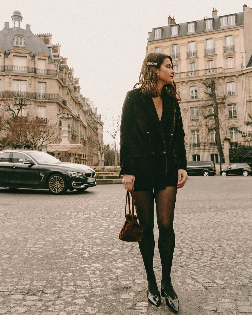 Sarah Butler of Sarah Styles Seattle wears Sezane Christie brown velvet blazer with tights and Crystal Gucci single hair barrette in Paris, France | @sarahchristine, Seattle Blogger-5.jpg