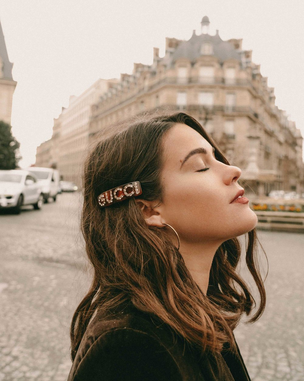 Sarah Butler of Sarah Styles Seattle wears Sezane Christie brown velvet blazer with tights and Crystal Gucci single hair barrette in Paris, France | @sarahchristine, Seattle Blogger-7.jpg