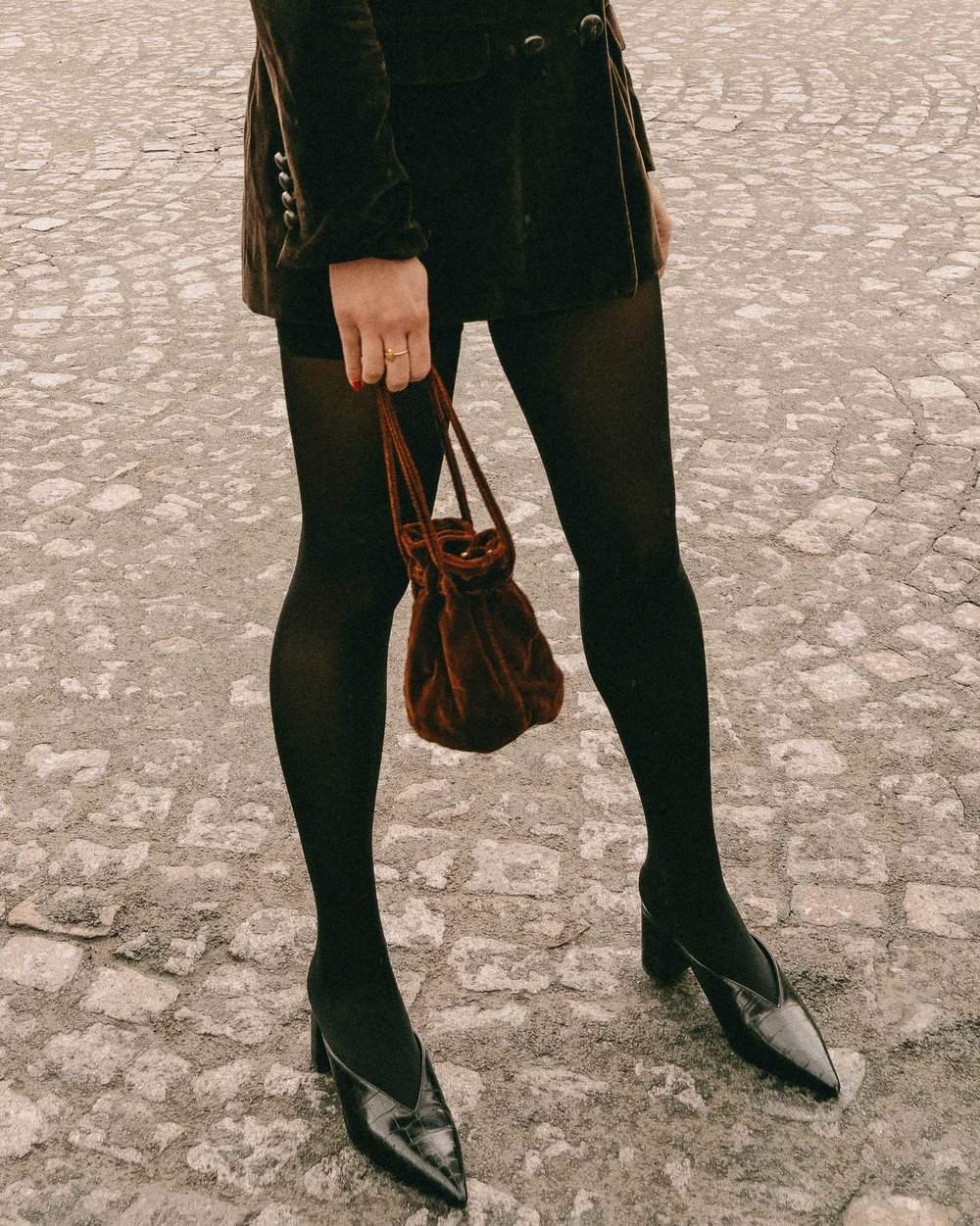 Sarah Butler of Sarah Styles Seattle wears Sezane Christie brown velvet blazer with tights and Crystal Gucci single hair barrette in Paris, France | @sarahchristine, Seattle Blogger -5.jpg