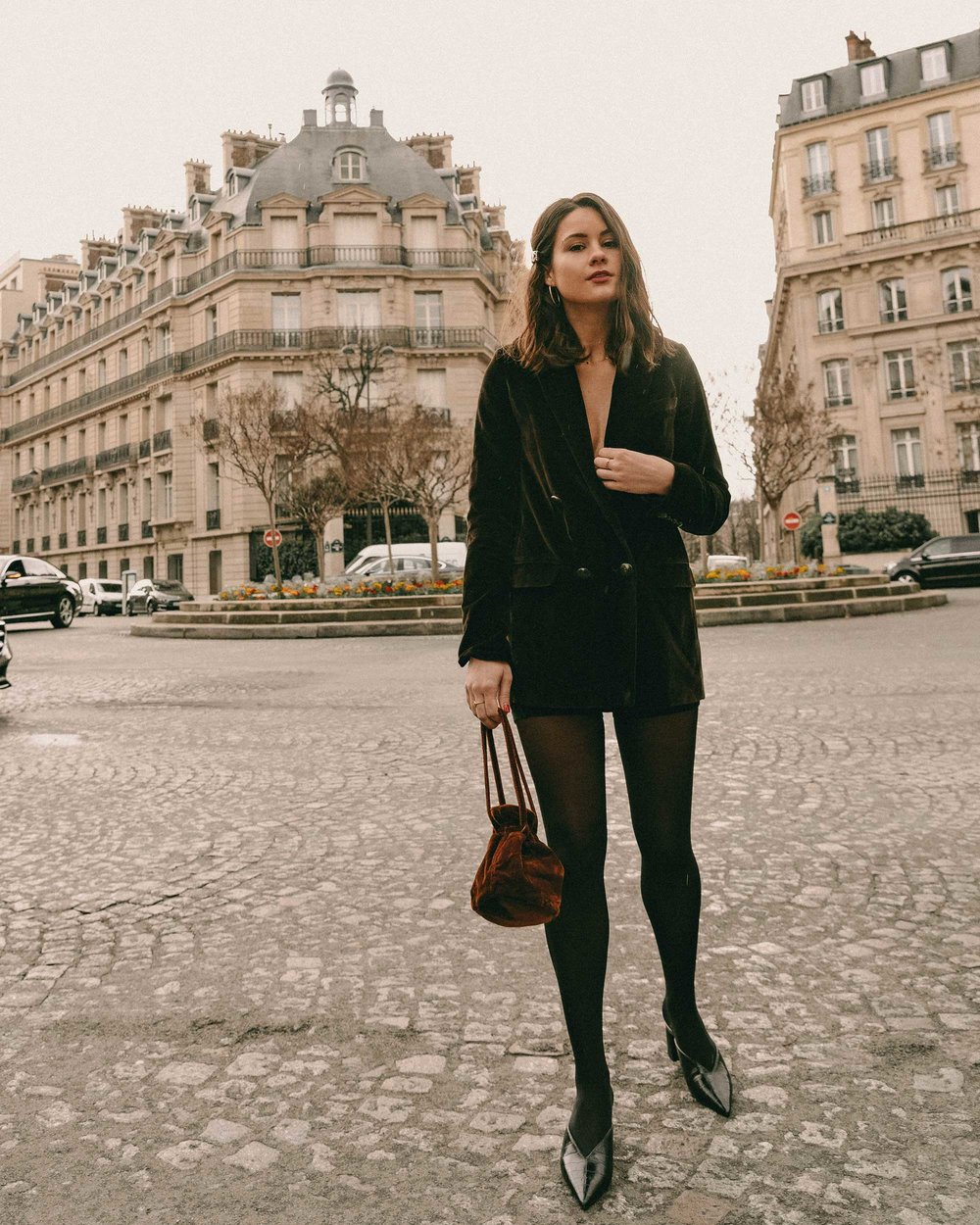 Sarah Butler of Sarah Styles Seattle wears Sezane Christie brown velvet blazer with tights and Crystal Gucci single hair barrette in Paris, France | @sarahchristine, Seattle Blogger-3.jpg