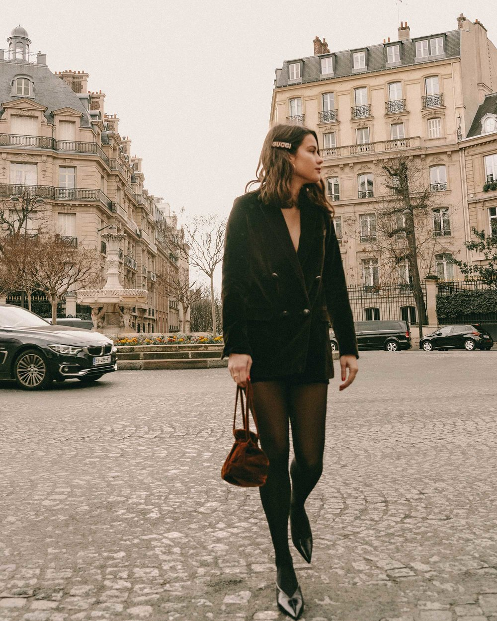 Sarah Butler of Sarah Styles Seattle wears Sezane Christie brown velvet blazer with tights and Crystal Gucci single hair barrette in Paris, France | @sarahchristine, Seattle Blogger-4.jpg