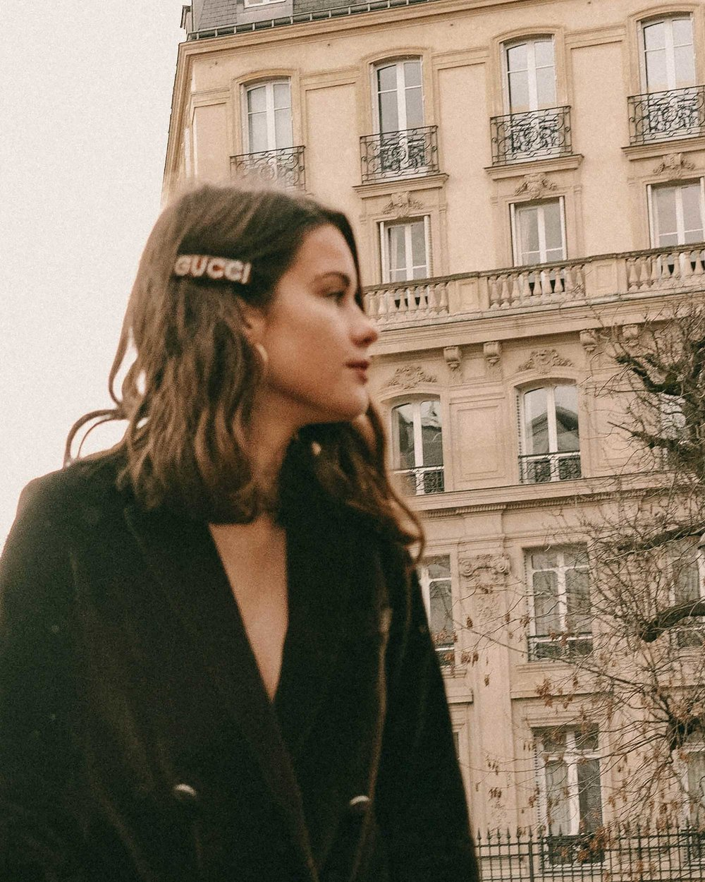 Sarah Butler of Sarah Styles Seattle wears Sezane Christie brown velvet blazer with tights and Crystal Gucci single hair barrette in Paris, France | @sarahchristine, Seattle Blogger -2.jpg