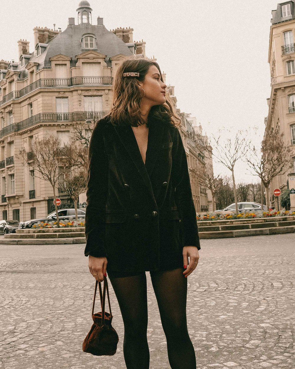 Sarah Butler of Sarah Styles Seattle wears Sezane Christie brown velvet blazer with tights and Crystal Gucci single hair barrette in Paris, France | @sarahchristine, Seattle Blogger -4.jpg
