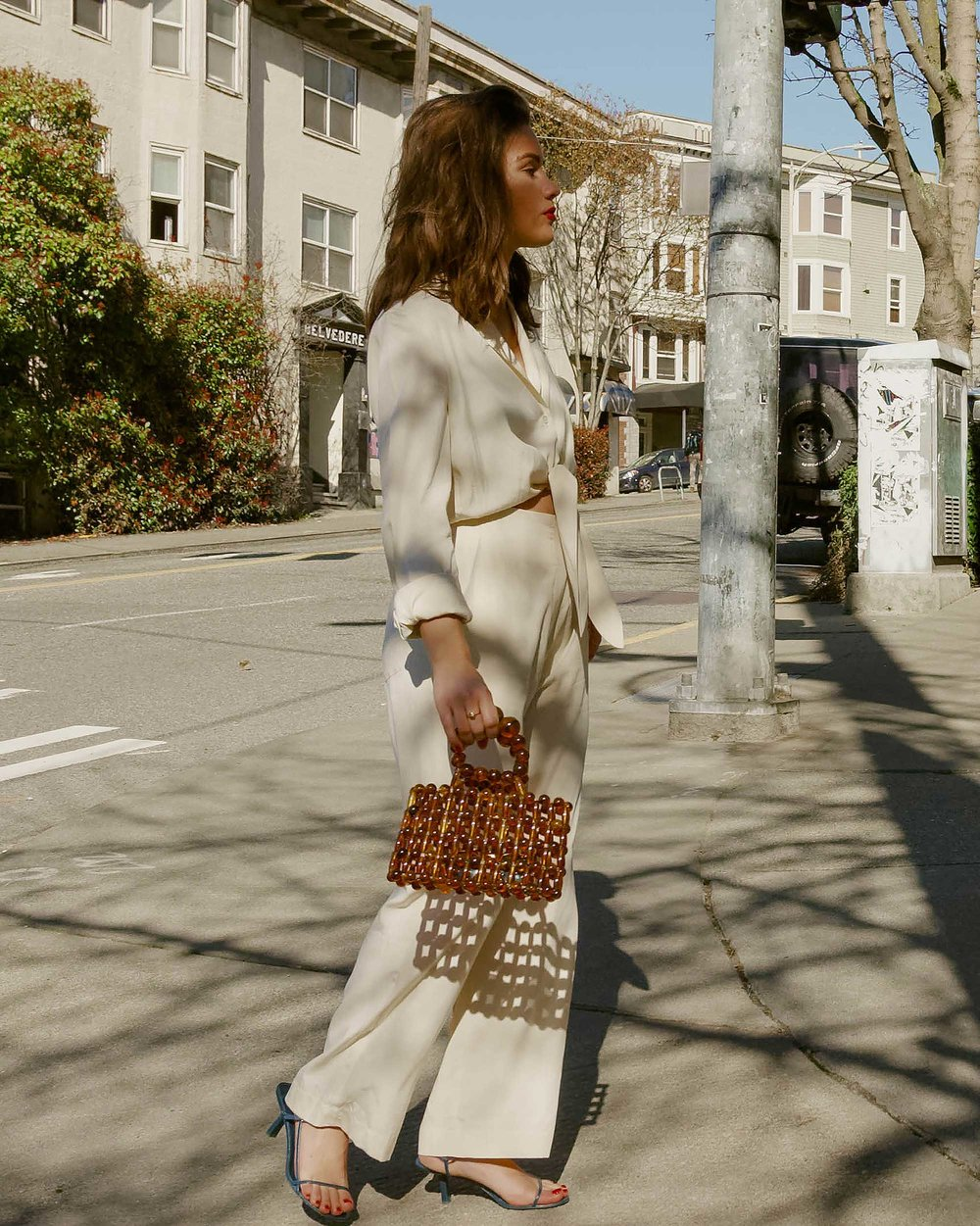 Sarah Butler of Sarah Styles Seattle wears Nanushka Long sleeve Tanya Tie-Front Jumpsuit and Cult Gaia Acrylic Cora Clutch in tortoise shell brown in Seattle   @sarahchristine, Seattle Blogger7.jpg