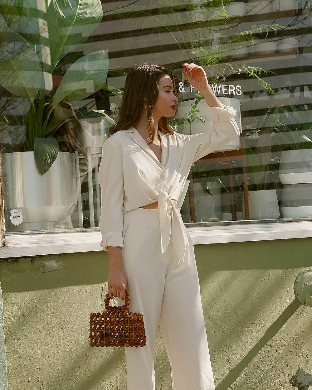 Sarah Butler of Sarah Styles Seattle wears Nanushka Long sleeve Tanya Tie-Front Jumpsuit and Cult Gaia Acrylic Cora Clutch in tortoise shell brown in Seattle   @sarahchristine, Seattle Blogger1.jpg