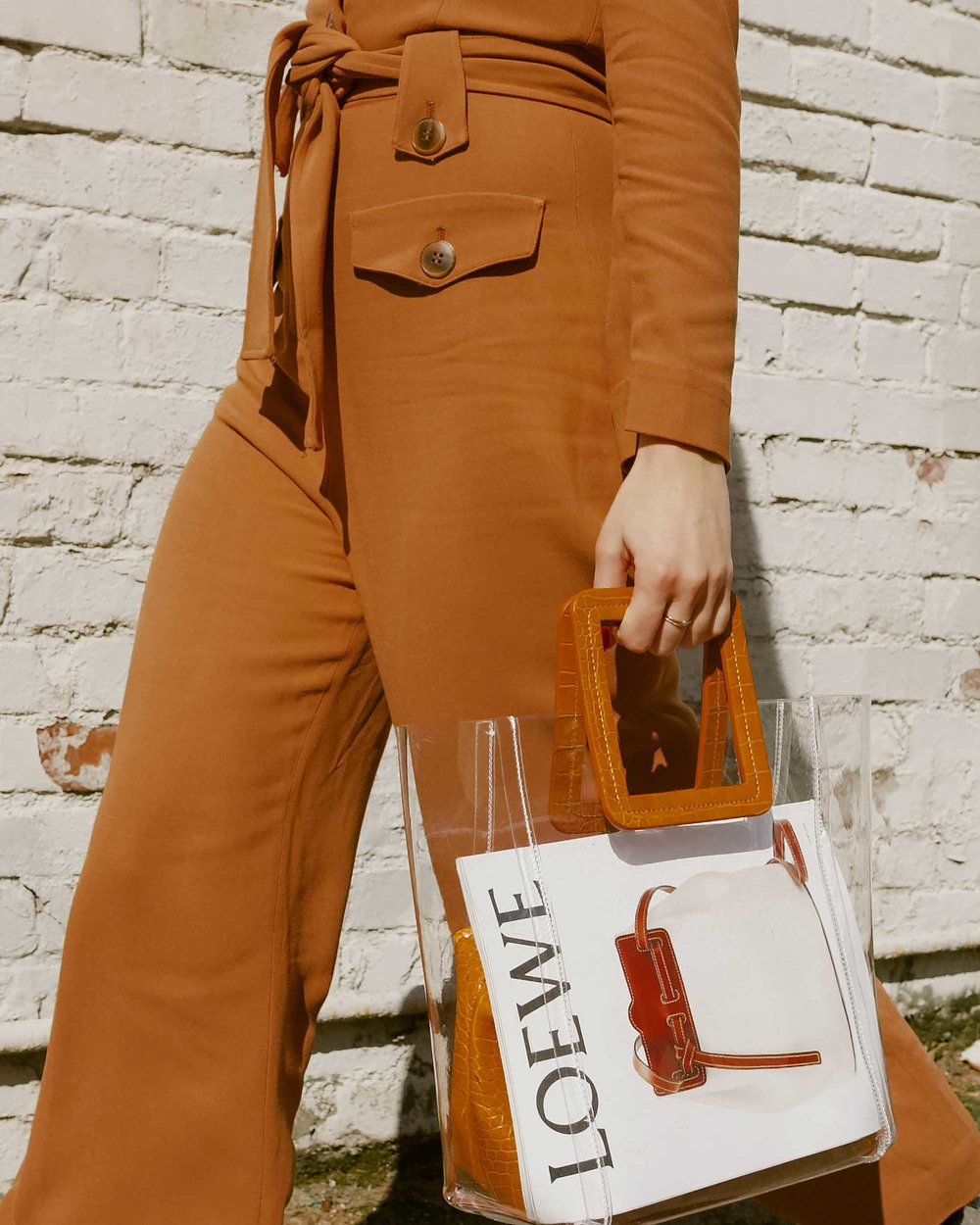 Sarah Butler of Sarah Styles Seattle wears & Other Stories Long Sleeve Belted Camel Jumpsuit and Staud Transparent Handbag in Seattle | @sarahchristine, Seattle Blogger - 13.jpg