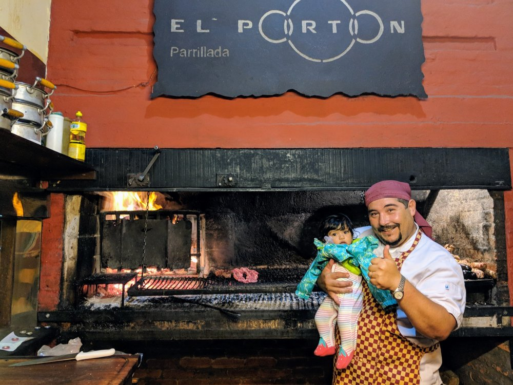 Parrillada / parilla, or barbecue, is very popular in Uruguay. Samindra made friends with the chef!