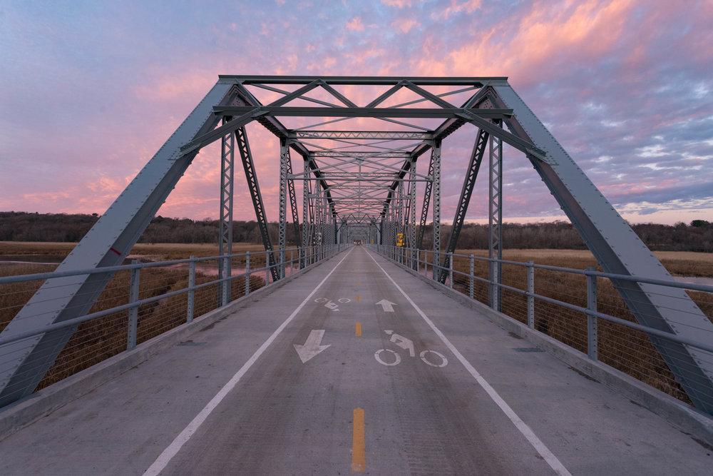 bike bridge sunrise - old cedar ave bridge, bloomington