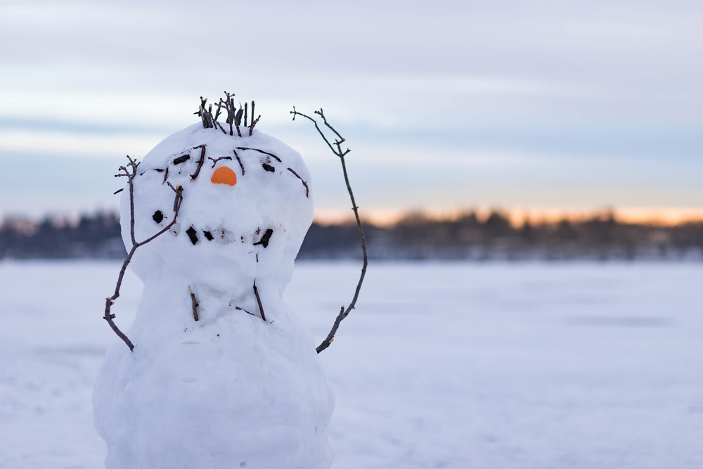 stressed snowman - lake harriet, minneapolis