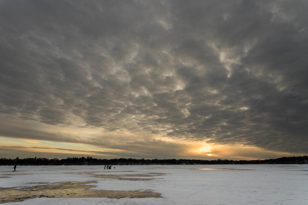 moody winter skies - lake harriet, minneapolis