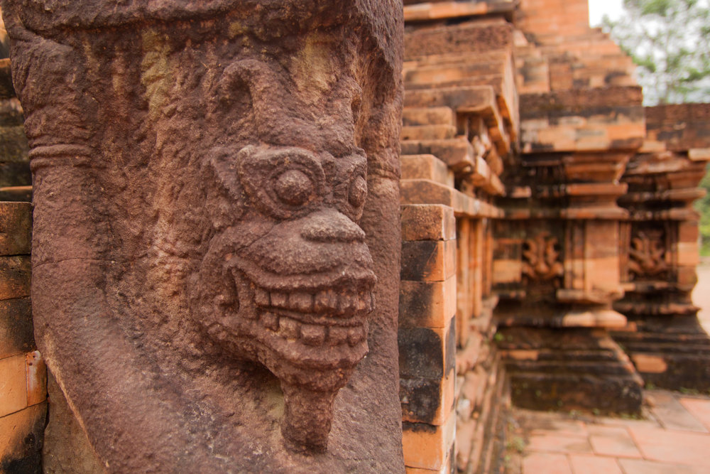monkey sculpture - my son ruins, vietnam